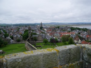 The town of St Andrews, as seen from the top of the 12-century St Regulus' Tower, which stands amidst the cathedral ruins.