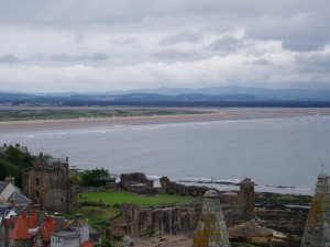 St Andrews Castle (foreground), with West Sands Beach and the North Sea beyond.
