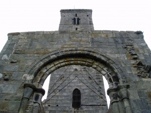 The 12th-century tower of St Rule (St Regulus), in the grounds of St Andrews Cathedral.