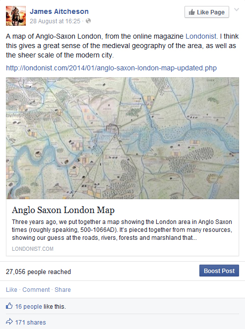 Anglo-Saxon London - Facebook screengrab