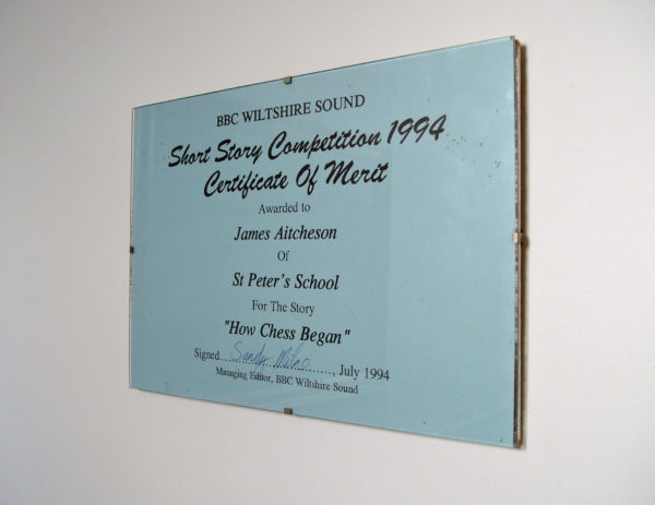 Certificate of Merit: BBC Wiltshire Sound Short Story Competition 1994